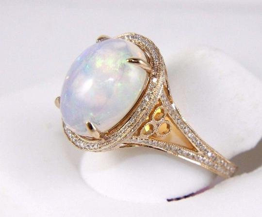Other Huge Oval Cut Opal Ring w/Diamond Halo & Accents 14k RG 6.34Ct Image 1