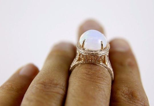 Other Huge Oval Cut Opal Ring w/Diamond Halo & Accents 14k RG 6.34Ct Image 3