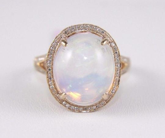 Other Huge Oval Cut Opal Ring w/Diamond Halo & Accents 14k RG 6.34Ct Image 4