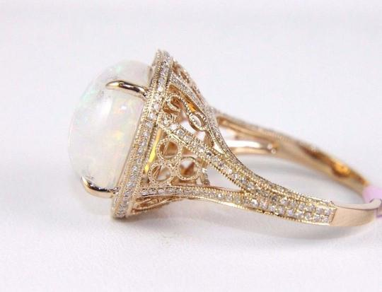 Other Huge Oval Cut Opal Ring w/Diamond Halo & Accents 14k RG 6.34Ct Image 5