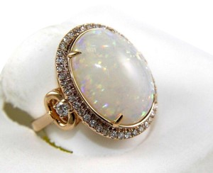 Other Oval Cut Fire Opal Solitaire Ring w/Diamond Halo 14k Rose Gold 7.21Ct