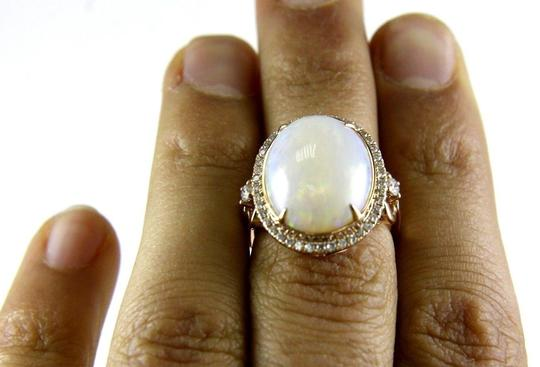 Other Oval Cut Fire Opal Solitaire Ring w/Diamond Halo 14k Rose Gold 7.21Ct Image 3
