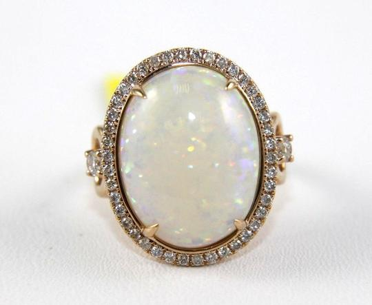 Other Oval Cut Fire Opal Solitaire Ring w/Diamond Halo 14k Rose Gold 7.21Ct Image 4