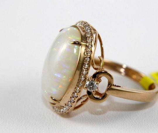 Other Oval Cut Fire Opal Solitaire Ring w/Diamond Halo 14k Rose Gold 7.21Ct Image 5