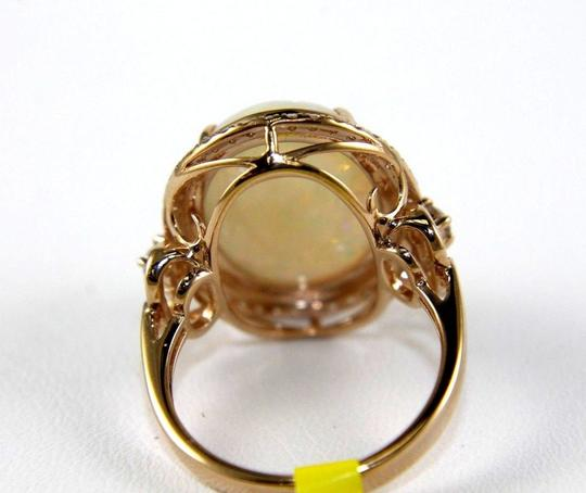 Other Oval Cut Fire Opal Solitaire Ring w/Diamond Halo 14k Rose Gold 7.21Ct Image 6