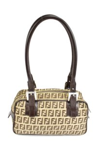Fendi Leather Brown Ff Logo Tote Shoulder Bag