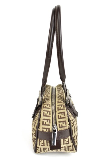 Fendi Leather Brown Ff Logo Tote Shoulder Bag Image 1