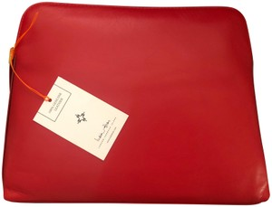 India Hicks Italian Leather Made In Tuscany Custom Gold Hardware Crown Rivets On Zip. RED Clutch
