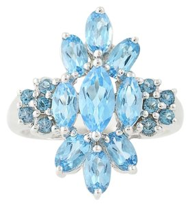 Other NEW London Blue Topaz & Blue Topaz Ring - 14k White Gold Cluster N9390