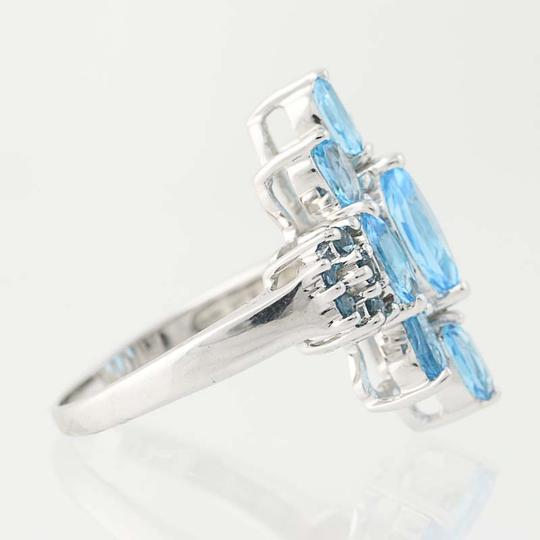 Other NEW London Blue Topaz & Blue Topaz Ring - 14k White Gold Cluster N9390 Image 1