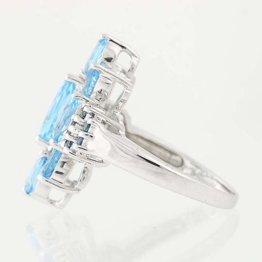 Other NEW London Blue Topaz & Blue Topaz Ring - 14k White Gold Cluster N9390 Image 2