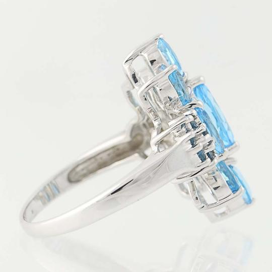 Other NEW London Blue Topaz & Blue Topaz Ring - 14k White Gold Cluster N9390 Image 3