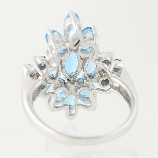 Other NEW London Blue Topaz & Blue Topaz Ring - 14k White Gold Cluster N9390 Image 4
