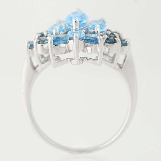 Other NEW London Blue Topaz & Blue Topaz Ring - 14k White Gold Cluster N9390 Image 5