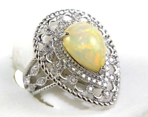 Other Pear Cut Fire Opal Cocktail Ring w/Diamond Halo 14k WG 4.64Ct
