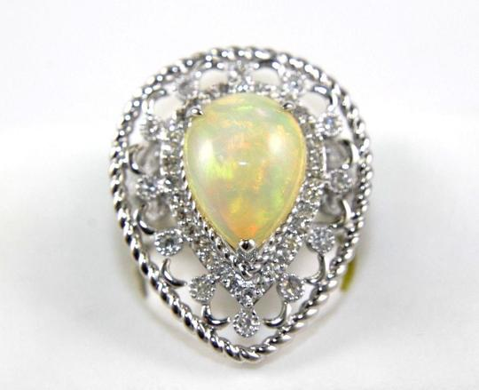 Other Pear Cut Fire Opal Cocktail Ring w/Diamond Halo 14k WG 4.64Ct Image 1