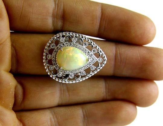 Other Pear Cut Fire Opal Cocktail Ring w/Diamond Halo 14k WG 4.64Ct Image 2