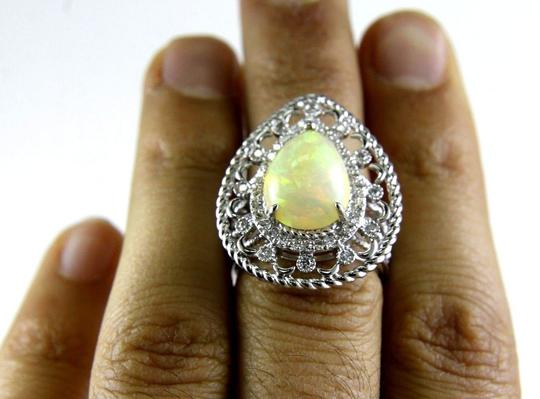 Other Pear Cut Fire Opal Cocktail Ring w/Diamond Halo 14k WG 4.64Ct Image 3