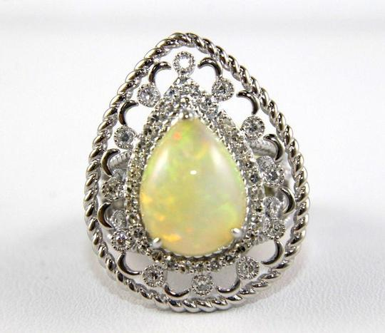 Other Pear Cut Fire Opal Cocktail Ring w/Diamond Halo 14k WG 4.64Ct Image 4
