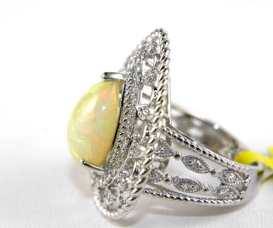 Other Pear Cut Fire Opal Cocktail Ring w/Diamond Halo 14k WG 4.64Ct Image 5