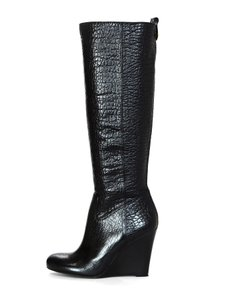 Tory Burch Textured Leather Knee High Wedge Black Boots