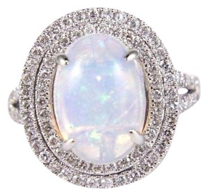 Other Oval Opal Solitaire Ring w/Diamond Halo & Accents 14k WG 4.15Ct