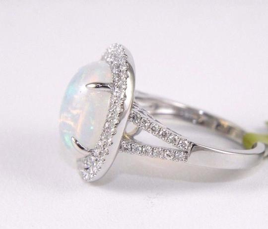 Other Oval Opal Solitaire Ring w/Diamond Halo & Accents 14k WG 4.15Ct Image 1