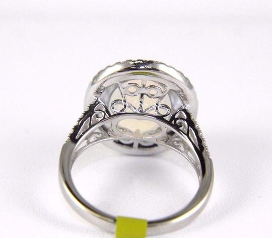 Other Oval Opal Solitaire Ring w/Diamond Halo & Accents 14k WG 4.15Ct Image 2