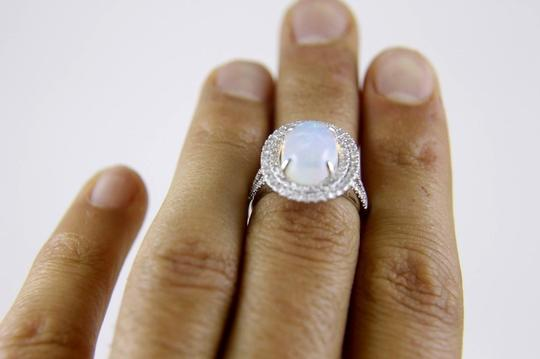 Other Oval Opal Solitaire Ring w/Diamond Halo & Accents 14k WG 4.15Ct Image 4