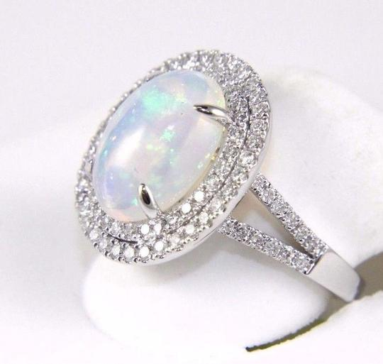 Other Oval Opal Solitaire Ring w/Diamond Halo & Accents 14k WG 4.15Ct Image 5