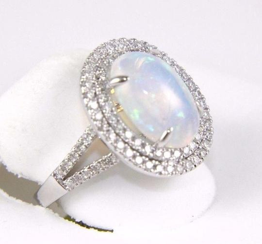Other Oval Opal Solitaire Ring w/Diamond Halo & Accents 14k WG 4.15Ct Image 6