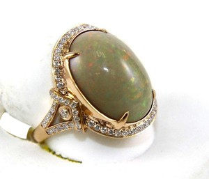 Other Oval Fire Opal Solitaire Ring w/Diamond Halo 14k RG 9.75Ct