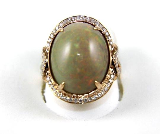 Other Oval Fire Opal Solitaire Ring w/Diamond Halo 14k RG 9.75Ct Image 1