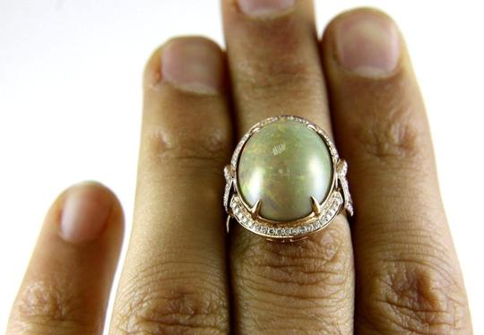 Other Oval Fire Opal Solitaire Ring w/Diamond Halo 14k RG 9.75Ct Image 3