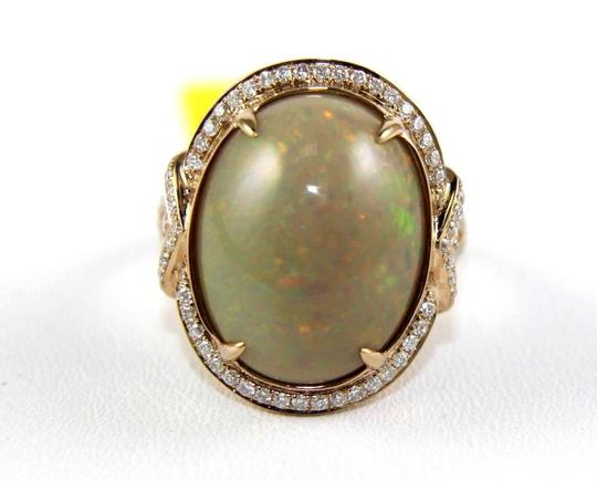 Other Oval Fire Opal Solitaire Ring w/Diamond Halo 14k RG 9.75Ct Image 4