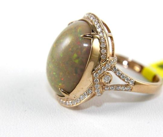 Other Oval Fire Opal Solitaire Ring w/Diamond Halo 14k RG 9.75Ct Image 5