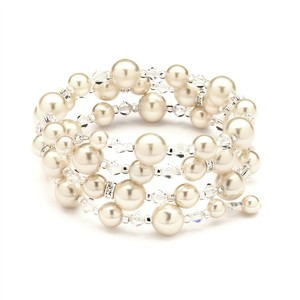 Mariell Adjustable Coil Ivory Pearl Wedding Bracelet 4080b-i-cr-s