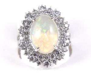 Other Oval Cut Opal Solitaire Ring w/Diamond Halo 14k WG 4.24Ct