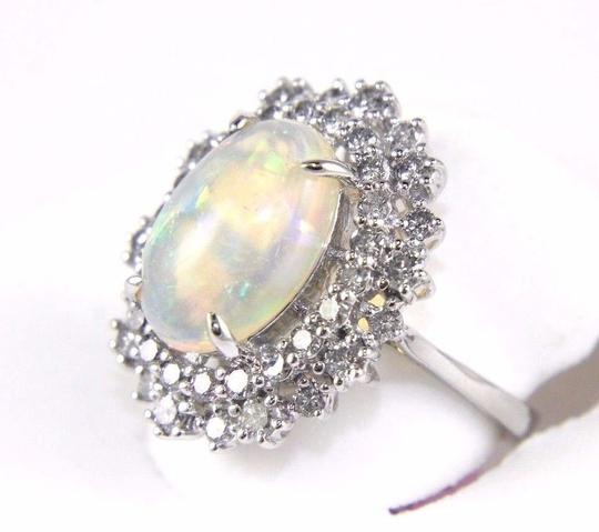 Other Oval Cut Opal Solitaire Ring w/Diamond Halo 14k WG 4.24Ct Image 1