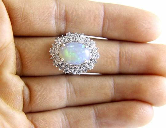 Other Oval Cut Opal Solitaire Ring w/Diamond Halo 14k WG 4.24Ct Image 2