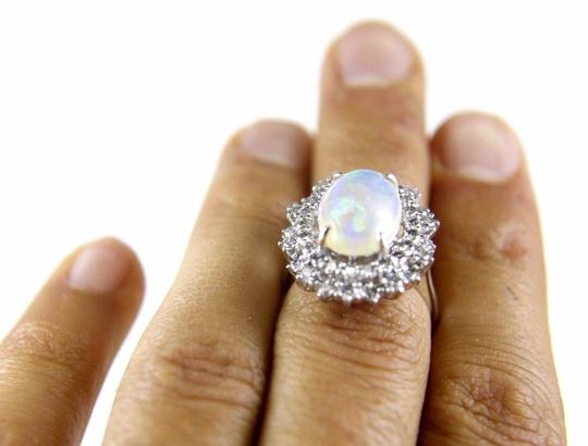 Other Oval Cut Opal Solitaire Ring w/Diamond Halo 14k WG 4.24Ct Image 3