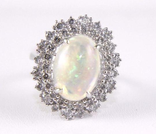 Other Oval Cut Opal Solitaire Ring w/Diamond Halo 14k WG 4.24Ct Image 4