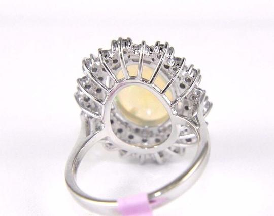 Other Oval Cut Opal Solitaire Ring w/Diamond Halo 14k WG 4.24Ct Image 5