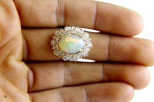 Other Oval Cut Opal Solitaire Ring w/Diamond Halo 14k YG 5.42Ct