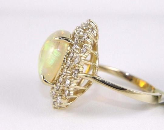Other Oval Cut Opal Solitaire Ring w/Diamond Halo 14k YG 5.42Ct Image 2
