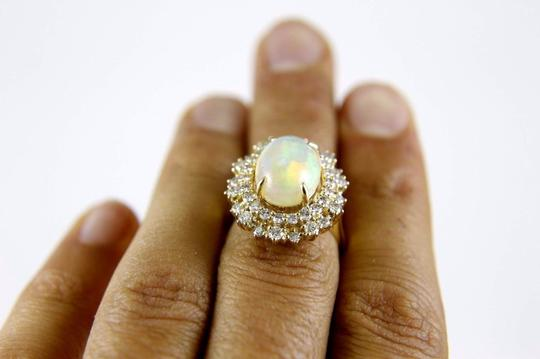 Other Oval Cut Opal Solitaire Ring w/Diamond Halo 14k YG 5.42Ct Image 4