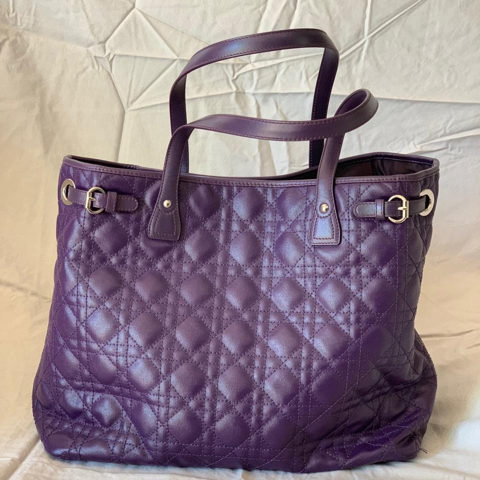 Dior quilted christian purple leather tote tradesy jpg 960x960 Purple  leather 7f91f3fa02abf