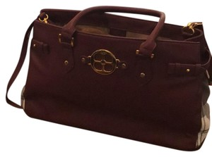 Joy & IMAN burgundy and plaid Travel Bag