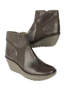 FLY London Yago Leather Side Zip Wedge Ankle Brown Boots
