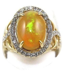 Other Oval Fire Opal & Diamond Halo Solitaire Ring 14k YG 4.54Ct